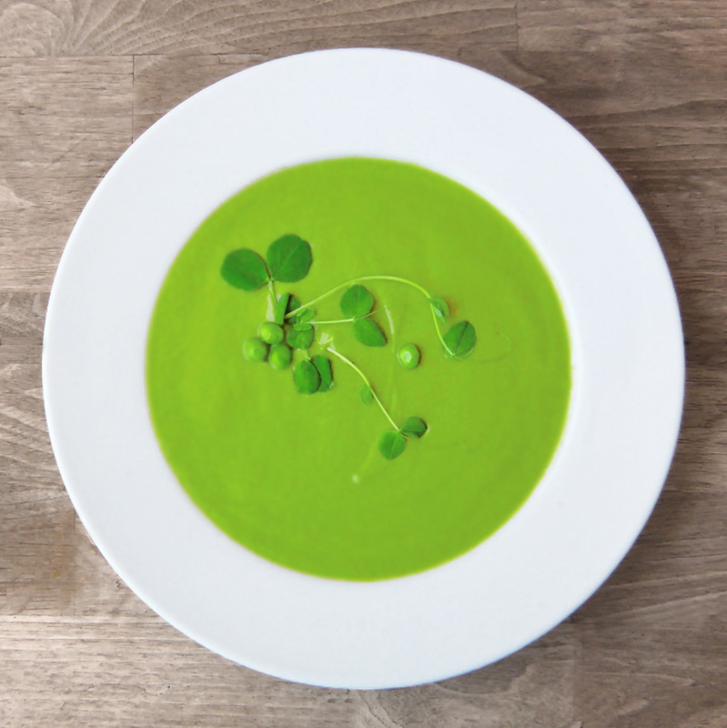 fresh shell pea soup garnished with pea shoots and peas ingredients 15 ...